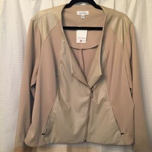 Calvin Klein Faux Leather/Fabric 1X Womens Jacket